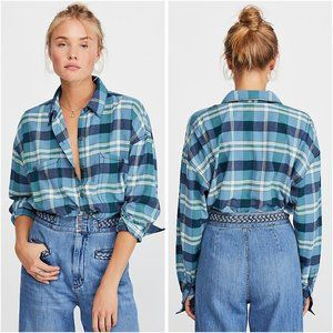 Free People Loveland Plaid Button Down Top XS